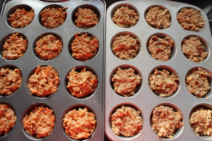 Carrot and parsnip muffins in muffin pans